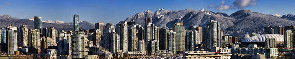 Panorama Poster featuring the photograph Pano Vancouver Snowy Skyline by David Smith