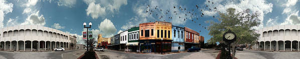 Bryan Poster featuring the photograph Downtown Bryan Texas Panorama 5 To 1 by Nikki Marie Smith