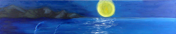 Seascape Poster featuring the painting Lady Moon by Helene Lagoudakis