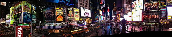 Times Square Ny Panoramic Poster featuring the photograph Times Square Ny Panoramic by Marie Naturally