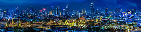 Architecture Poster featuring the photograph Grand Palace At Twilight In Bangkok Between Loykratong Festival by Anek Suwannaphoom