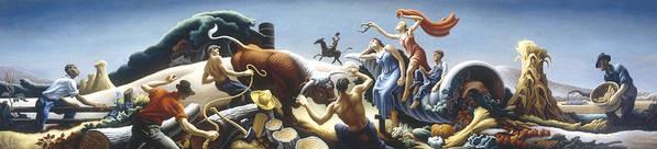 Thomas Benton Poster featuring the digital art Achelous And Hercules by Thomas Benton