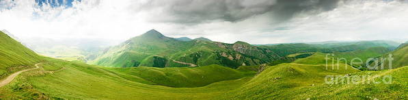 Panoramic Poster featuring the photograph Panoramic Green Mountains by Boon Mee