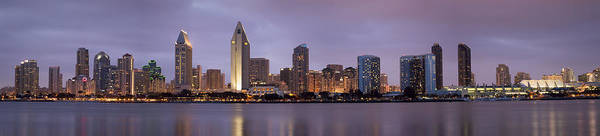 3scape Poster featuring the photograph San Diego Skyline At Dusk Panoramic by Adam Romanowicz