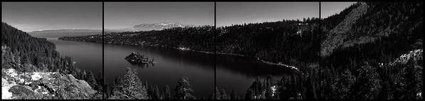 Emerald Bay Poster featuring the photograph Black And White Emerald Bay Panorama by Brad Scott