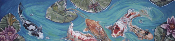 Fish Poster featuring the painting Koi Pond by Diann Baggett
