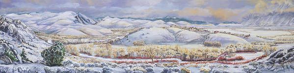 Landscape Poster featuring the painting Winter Panorama From The River Mural by Dawn Senior-Trask
