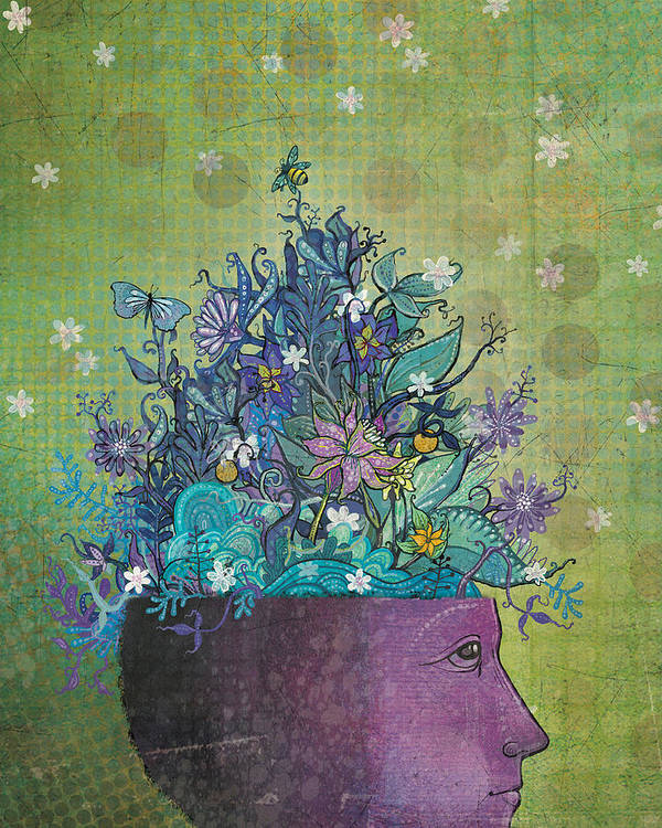 Flowers Poster featuring the digital art Flower-head1 by Dennis Wunsch