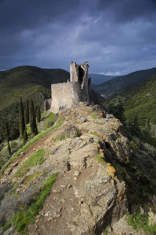 Ancient Poster featuring the photograph Lastours Castle by Ruben Vicente
