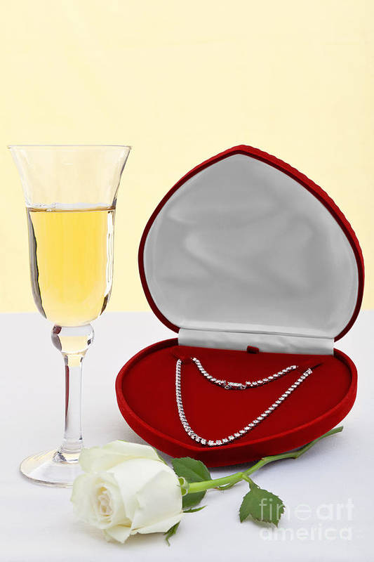 Diamond Poster featuring the photograph Diamond Necklace With Champagne And White Rose. by Richard Thomas