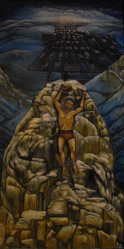 Landscape Poster featuring the painting Prometheus Laments by Edward Wheeler