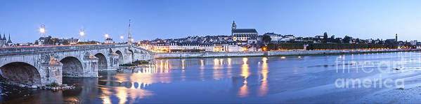 Blois Poster featuring the photograph Blois Loire Valley Panorama Twilight Centre France by Colin and Linda McKie