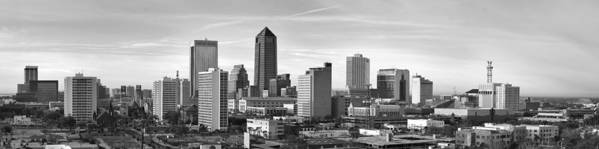 Jacksonville Skyline Poster featuring the photograph Jacksonville Skyline Morning Day Black And White Bw Panorama Florida by Jon Holiday