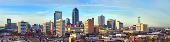 Jacksonville Skyline Poster featuring the photograph Jacksonville Skyline Morning Day Color Panorama Florida by Jon Holiday