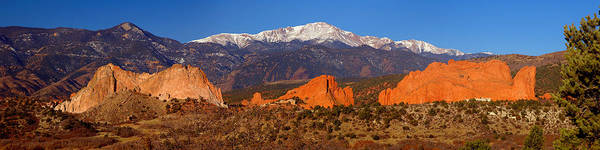 Pike's Peak Poster featuring the photograph Pike's Peak And Garden Of The Gods by Jon Holiday