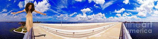 Sarasota Poster featuring the photograph Balancing On Ringling Causeway Bridge by Rolf Bertram