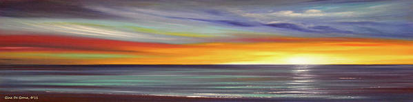 Sunset Poster featuring the painting In The Moment Panoramic Sunset by Gina De Gorna