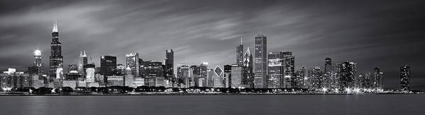 3scape Poster featuring the photograph Chicago Skyline At Night Black And White Panoramic by Adam Romanowicz