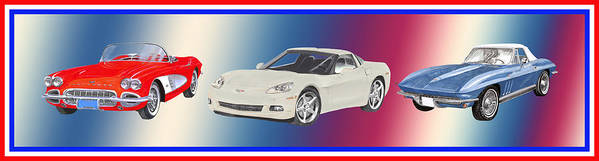 A Trio Of Watercolor Paintings For Fans Of America�s Favorite Sports Poster featuring the painting Corvettes In Red White And True Blue by Jack Pumphrey