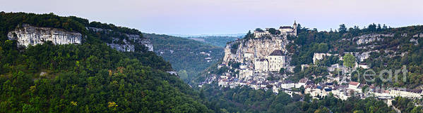 Dawn Poster featuring the photograph Rocamadour Midi Pyrenees France Panorama by Colin and Linda McKie
