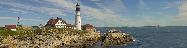 Maine Poster featuring the photograph Portland Head Light Panorama by Mike McGlothlen
