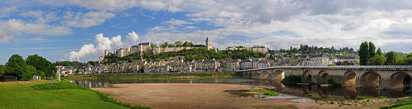 Chinon Poster featuring the photograph Chateau De Chinon Panorama by Dave Mills