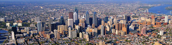 Philadelphia Poster featuring the photograph Panoramic Philly Skyline Aerial Photograph by Duncan Pearson