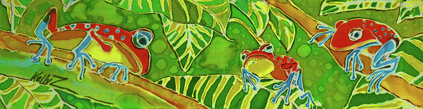 Frog Poster featuring the painting Rainforest Buds by Kelly   ZumBerge
