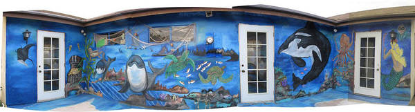 Mural Poster featuring the painting Sea Wall by Mikki Alhart