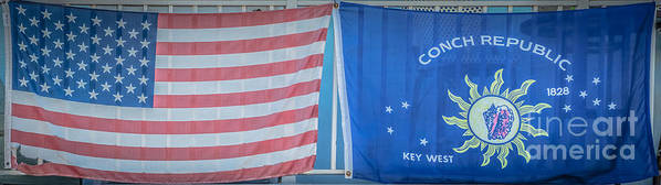 1828 Poster featuring the photograph Us Flag And Conch Republic Flag Key West - Panoramic - Hdr Style by Ian Monk