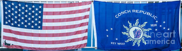 1828 Poster featuring the photograph Us Flag And Conch Republic Flag Key West - Panoramic by Ian Monk