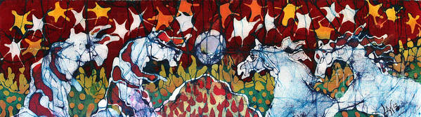 Horse Poster featuring the tapestry - textile Band Of Horses by Carol Law Conklin