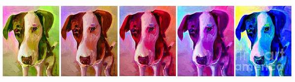 Dog Poster featuring the painting Colored Dog Strip by Linda Vespasian