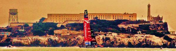 America's Cup Poster featuring the photograph Emirates At Alcatraz by Steven Holloway