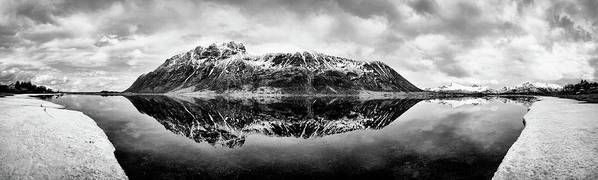 Lofoten Islands Poster featuring the photograph Mountain Reflection by Dave Bowman