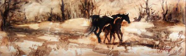 Horse Poster featuring the painting Morning Echo by Leda Miller