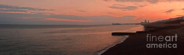 Brighton Poster featuring the photograph Brighton 2014 Sunset Looking From The Marina West by Simon Kennedy