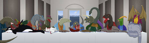 Last Supper Poster featuring the digital art The Last Supper Of Raptor Jesus by Greasy Moose
