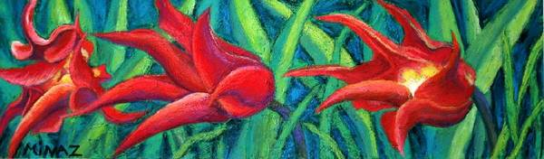 Tulips Poster featuring the painting Triple Tease Tulips by Minaz Jantz