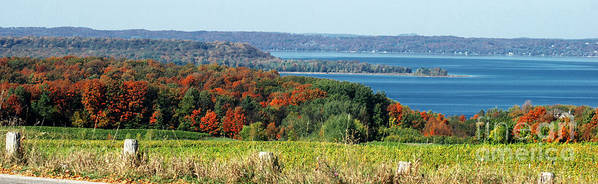 Grand Traverse Winery In Autumn Poster featuring the photograph Grand Traverse Winery Lookout by Optical Playground By MP Ray