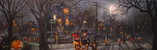 Full Moon Poster featuring the painting Halloween Trick Or Treat by Tom Shropshire