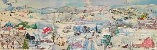 Snow Poster featuring the mixed media Snowy Village - Sold by Judith Espinoza
