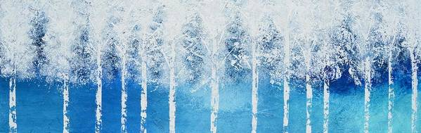 White Trees Poster featuring the painting Wintry Mix by Linda Bailey