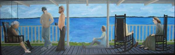 Seascape Poster featuring the painting Porch People by Sheryl Sutherland