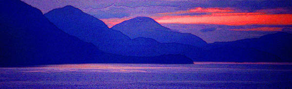 Pacific Poster featuring the photograph After Sunset Mountains 5 Pd by Lyle Crump