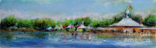 Landscape Poster featuring the pastel Central Park Ny by Joyce A Guariglia