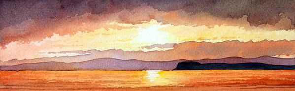 Seascape Poster featuring the painting Islay And Cara From Kintyre Scotland by Paul Dene Marlor