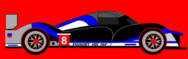 Peugeot 908 Poster featuring the digital art Peugeot 908 Hdi Sat - No. 8 by Asbjorn Lonvig