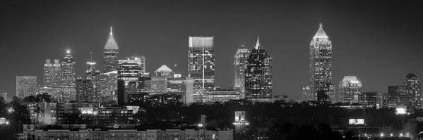 Atlanta Poster featuring the photograph Atlanta Skyline At Night Downtown Midtown Black And White Bw Panorama by Jon Holiday