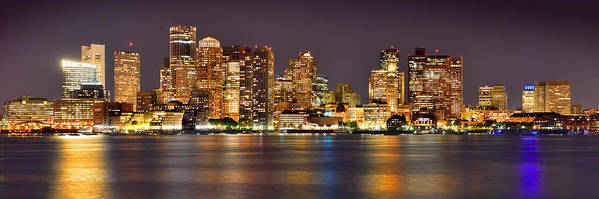 Boston Skyline At Night Poster featuring the photograph Boston Skyline At Night Panorama by Jon Holiday